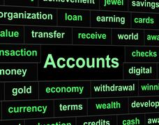 Accounting accounts indicating balancing the books and paying taxes Stock Illustration