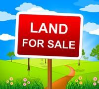 Stock Illustration of land for sale indicating real estate agent and property