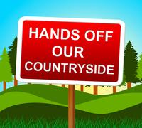 Stock Illustration of hands off countryside meaning go away and landscape