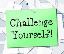 Stock Illustration of challenge yourself indicating motivation persistence and encouragement