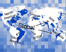 global world showing biz corporate and planet - stock illustration
