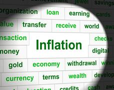 Finance inflation indicating fiscal rise and growth Stock Illustration