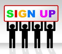 Stock Illustration of sign up meaning apply register and admission