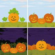 pumpkins jack o lantern, set - stock illustration