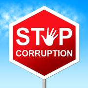Corruption stop representing warning sign and restriction Stock Illustration
