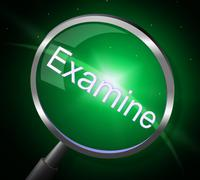 Examine magnifier meaning check up and searches Stock Illustration