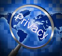 Privacy private indicating search research and secrecy Stock Illustration
