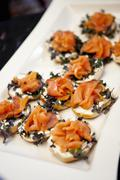 Close-up of Platter of Cream Cheese and Salmon Canapes Stock Photos