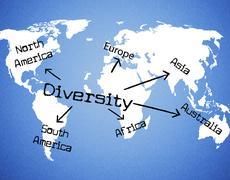 diversity world indicating mixed bag and variation - stock illustration
