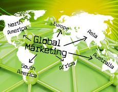 global marketing representing promotions advertising and globalise - stock illustration