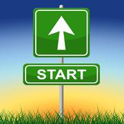 Start sign indicating do it and begin Stock Illustration