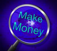 make money meaning magnifier earning and searches - stock illustration