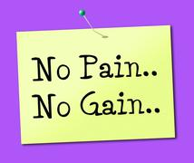 no pain gain meaning making it happen and achieve - stock illustration