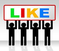 Fans like meaning social media and recommend Stock Illustration