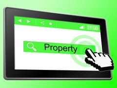Stock Illustration of online property showing world wide web and real estate