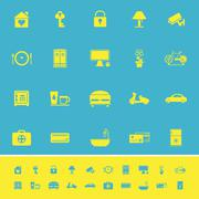General home stay color icons on blue background Stock Illustration