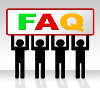 Frequently asked questions indicating information info and faq Piirros