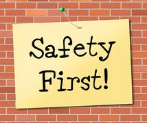 Stock Illustration of safety first meaning warning prevention and protect