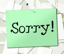notice sign showing display signboard and apologize - stock illustration