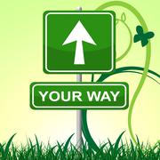 your way showing display confusion and choice - stock illustration