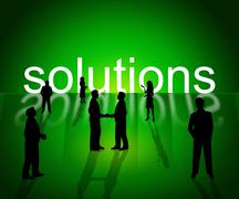 Business solutions indicating solve resolve and corporation Stock Illustration