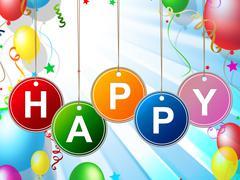 Balloons happy indicating enjoy happiness and jubilant Piirros
