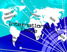 International trade indicating across the globe and commerce biz Stock Illustration