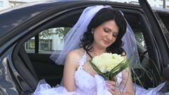 Portrait beautiful Caucasian bride in traditional wedding dress and veil Stock Footage