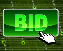 Stock Illustration of bid button showing world wide web and internet auction