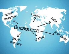 Outsource worldwide meaning independent contractor and globalisation Stock Illustration