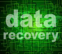 Data recovery indicating getting back and retrieve Stock Illustration
