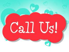 Call us showing conversation chatting and telephone Stock Illustration