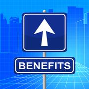 benefits sign indicating rewards direction and compensation - stock illustration