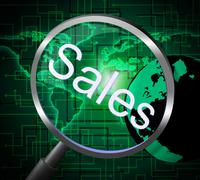Magnifier sales representing e-commerce magnify and consumerism Stock Illustration