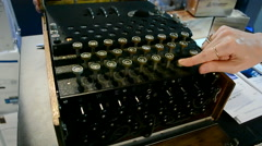 Enigma machine under processing, cipher equipment diversity. Stock Footage
