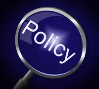Stock Illustration of magnifier policy meaning guideline legal and rules