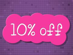 Stock Illustration of ten percent off indicating cheap promotional and merchandise