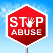 Stock Illustration of stop abuse meaning indecently assault and warning