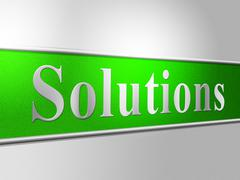 solutions sign representing signboard achievement and resolve - stock illustration