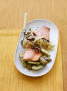Salmon with Potatoes, Bacon and Sauerkraut Stock Photos