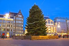 damsquare in amsterdam at christmas in the netherlands - stock photo