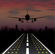 The plane is taking off at sunset and night city - stock illustration