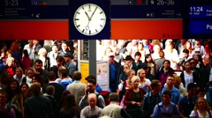 Germany Munich Train arriving platform Crowded Passengers Visitors Tourists Stock Footage