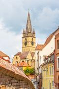 lutheran cathedral, sibiu city, romania - stock photo