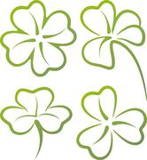 illustration with a set of clover leaves - stock illustration