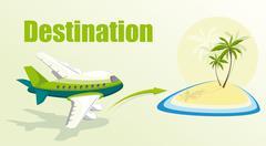 Illustration with plane and island. - stock illustration