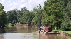 Stock Video Footage of River barge piling