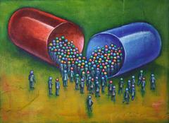 Illustration of Large Capsule Pill with a Crowd of People Gathered around the - stock illustration