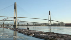 Towing Log Boom in Winter, Fraser River Stock Footage