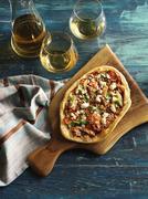 Artisanal Pizza and White Wine - stock photo